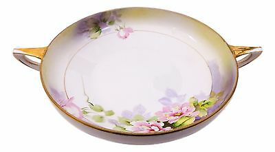 Antique Porcelain Serving Bowl Nippon Double Handle Floral Hand Painted Gilded