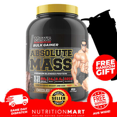 MAX'S ABSOLUTE MASS 6LB BULK GAINER PROTEIN POWDER MAXS SUPERSIZE 2.72kg