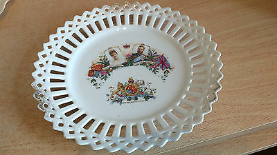 George V Coronation Commemorative Reticulated China Plate. Very Good Condition.