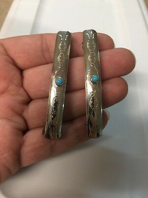 """Navajo Indian Sterling 1 Pair 2 3/4"""" Hair Clip Barrette Turquoise Native Made #2"""