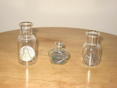 Lot Of 3 Glass Bottles With Us Coins Inside 1971 Penny; 1940 Penny; 1954 Nickel