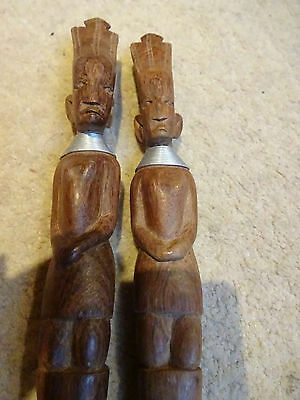 African Wood Carved Salad Tongs