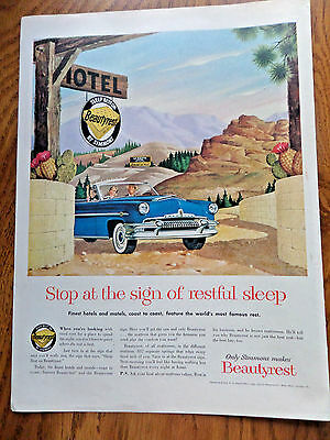 1954 Beautyrest Simmons Ad Mercury Convertible 1954 Modess Because Ad Lady