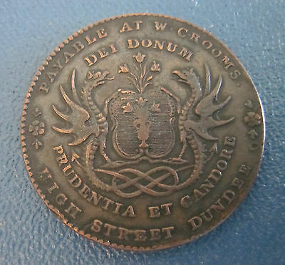 1790's City of Dundee Coat of Arms Dragon Scotland 1/2 Penny Conder Token