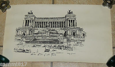 "1977 Roma Alter of the Nation Hand Drawn Detailed 23"" x 13.25"" PRINT Annunziata"