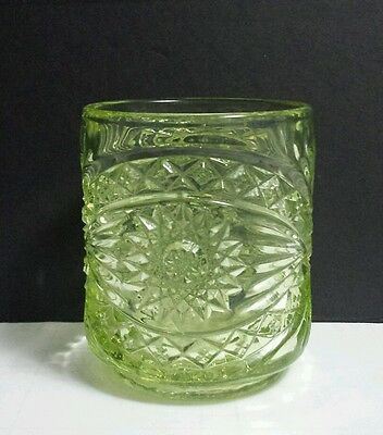 Imperial Glass Canary Yellow Hobstar Candy Apothecary Jar w/Orig. Label ~ NO LID