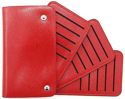 DEEZOMO PU Leather 30 Slots Credit Card Holder Wallet - Red
