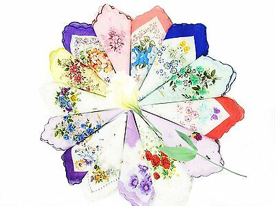 LACS Ladies Bulk Floral Cotton Handkerchiefs Hankies