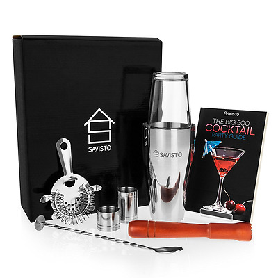 Savisto Premium Cocktail Set mit Boston Cocktail Schüttelbecher Glas Rezeptbuch