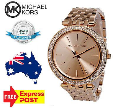 1f7522af1e92 NEW IN BOX Michael Kors MK3192 Women s Darci Rose Gold Stainless ...