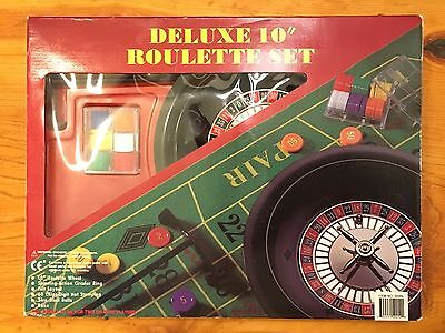 """**Unused Deluxe 10"""" Roulette Set Game with Layout Chips Rack Wheel & Balls"""