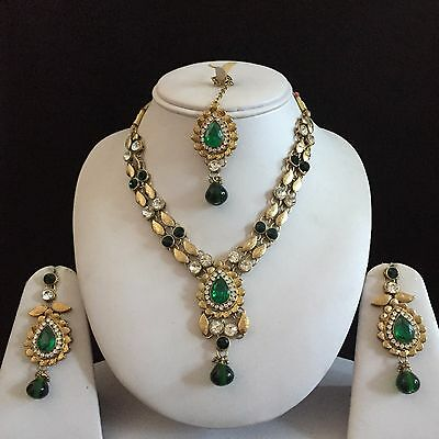 Green Gold Indian Costume Jewellery Necklace Earrings Crystal Diamond Set New
