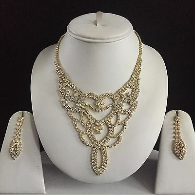 Gold Clear Indian Costume Jewellery Necklace Earrings Set Rhinestone New Bridal