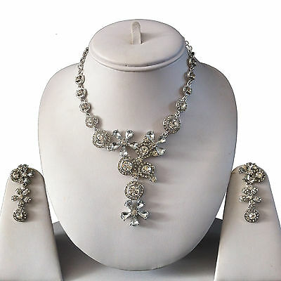 Clear Silver Indian Costume Jewellery Necklace Earrings Crystal Set Bridal New