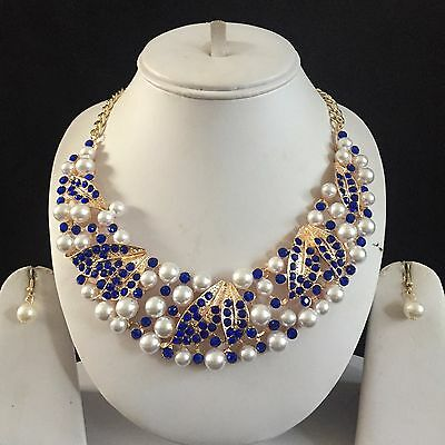 Blue Gold Costume Jewellery Necklace Earrings Pearls Crystal Set New Bridal Gift