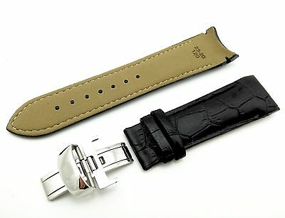 Black Genuine Leather Strap Band for Tissot Watch Couturier 24mm With Clasp
