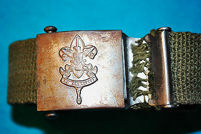 Antique Boy Scout Official BSA Web Belt & Buckle STEEL 1930s-1940s? Be Prepared
