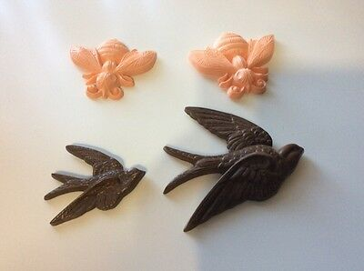 Burwood Products Vintage Home Decor Peach Bumble Bees and Birds