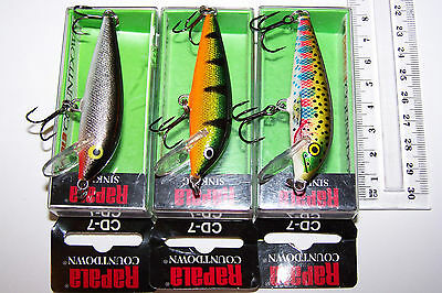 RAPALA FISHING LURES LOT OF 3, CD-7  COUNTDOWN  Trout, Bass, Murray Cod, Bream.