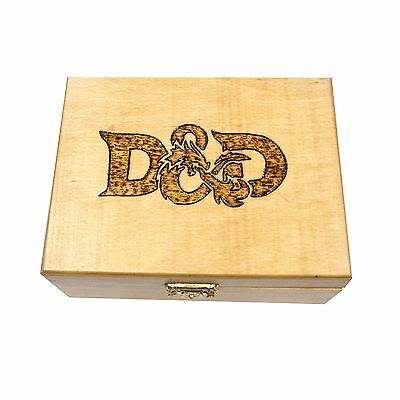 Dungeons & Dragons Artisanal Woodburned Storage Wood Box Case D&D by Geekwood