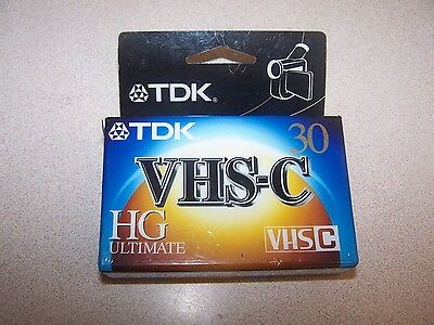 New TDK VHS-C HG Ultimate High Quality 30 Minute Camcorder Videocassette Tape