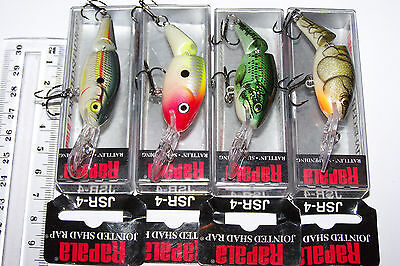 RAPALA FISHING LURES LOT OF 4, JSR-4 Rattling, suspending. Bass, Trout, Perch.