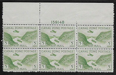 CANAL ZONE , US , 1931/49 , AIRMAIL ,  5c PLATE BLOCK OF 6 STAMPS , PERF , MNH