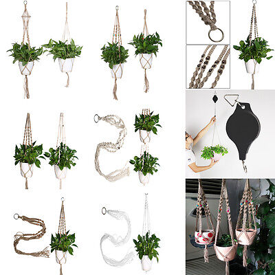 Various Handmade Macrame Plant Hanger Pot Holder 4 Leg Nylon Rope Home Garden A