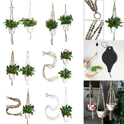 Retro Macrame Plant Hanger Flowerpot Holder Gardenpot Long Lifting Rope Decor A