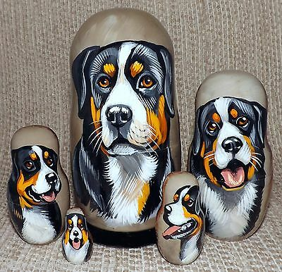 Greater Swiss Mountain Dog on Five Russian Nesting Dolls. Dogs