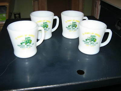 Tractor Implement COFFEE CUP SET OF 4 MUG FIRE KING ANCHOR HOCKING MILK GLASS