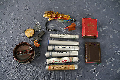 vintage drawer lot Lexicon, cards, cigar tubes, fishing fly, keychain etc