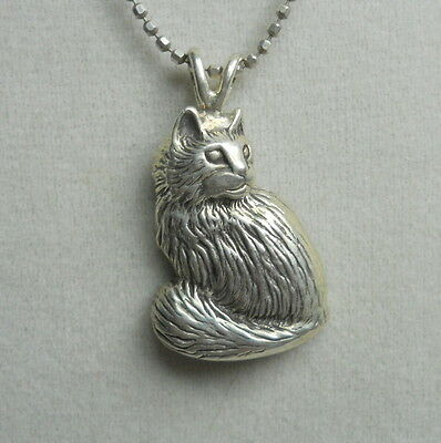 SITTING CAT Sterling Silver 925 Vintage Estate Handmade Pendant with 925 Chain
