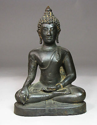A Very Fine Sino-Tibetan/Thai/Chinese Bronze Seated Buddha Figure-18th C.: