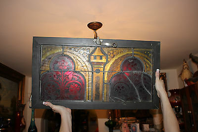 Antique Stained Glass Window Religious Christianity-Encased Transwindow-#1