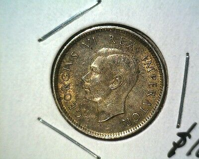 1942 South Africa Silver Sixpence Coin KM#27 About Uncirculated  .0728 ASW