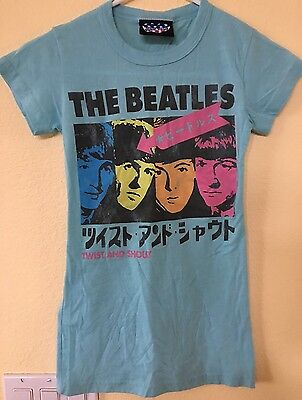 Junk Food The Beatles Twist And Shout Japan Blue Womens T-Shirt Size XS