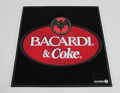 "Man Cave "" BACARDI and COKE "" Rum Liquor Alcohol Bar Large Square Rubber Mat"