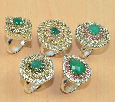 Silver & Solid Brass Wholesale 5Pc Faceted Ruby,emerald Big Turkish Ring Lot