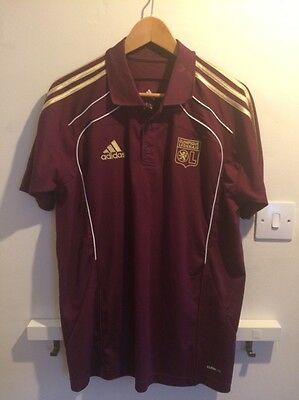 Lyon Olympique Lyonnais Football Club Adidas Polo Shirt Medium Mens