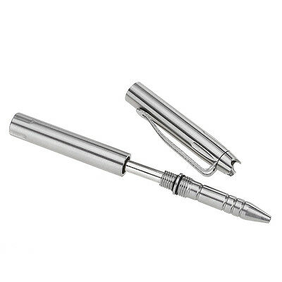 Portable Outdoor Survival Tool Personal Safety Tactical Pen Glass Breaker Silver
