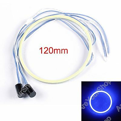 2x 120MM LED COB Chip SMD Car Angel Eyes Headlight Bright Halo Ring Light Blu AU
