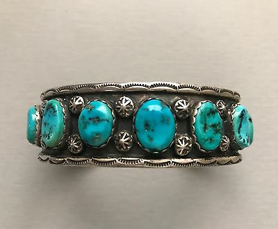 Picto SIGNED Sterling Silver Navajo 11 Stone Turquoise Nugget Cuff Bracelet