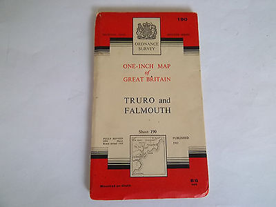 VINTAGE ORDNANCE SURVEY MAP No 190, TRURO AND FALMOUTH DATED 1961. ON CLOTH.
