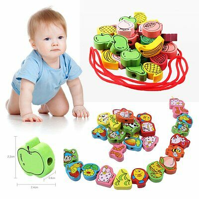 Baby Wooden Toys 25pcs Cartoon Lacing Wooden Threading Beads Game Education Top
