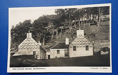 OLD POSTCARD THE STAGS HEADS, BERRIEDALE Copyright J. Adams, REAL PHOTO, 1952
