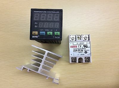 Digital F/C PID Temperature Controller Thermostat TA4-SNR +Heat Sink+25A DA SSR