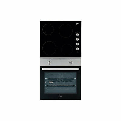 beko qsf212x black single fan oven and hob