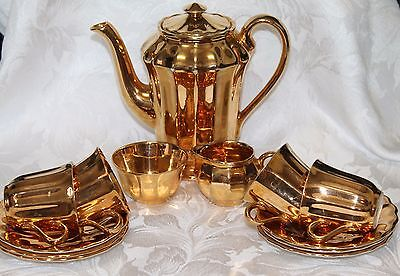 Gold Lustre china demitasse coffee (or chocolate) set by Wade.