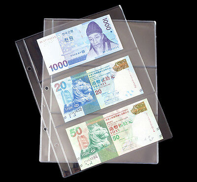 10 x Album Pages Holders Binder Sheets Paper Money Bill Note Currency Collection